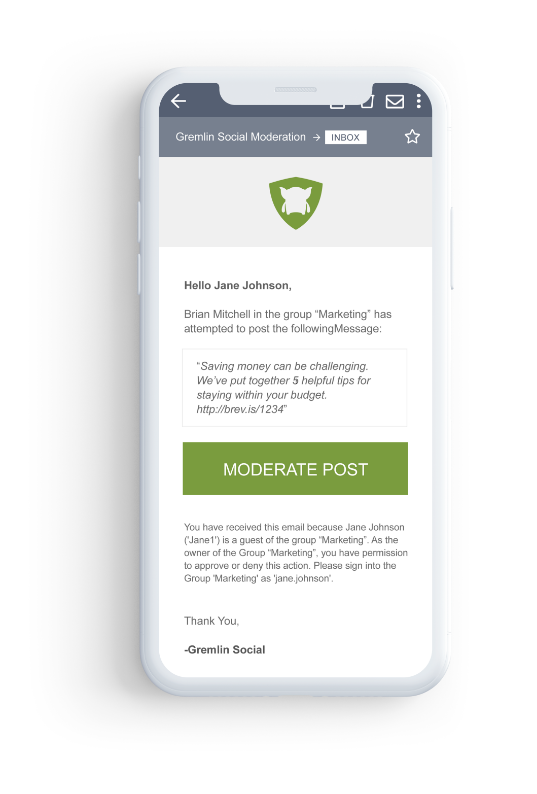 Moderation Email